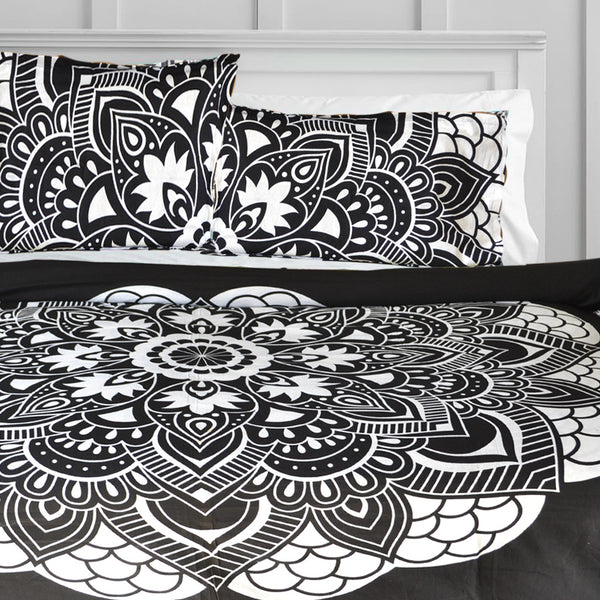 Black Lotus Flower DUVET DOONA COVER SET