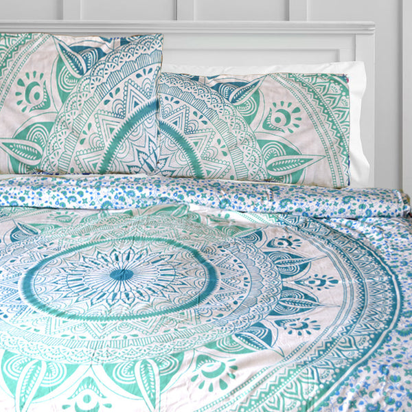 TEAL MEDALLION DUVET DOONA COVER SET