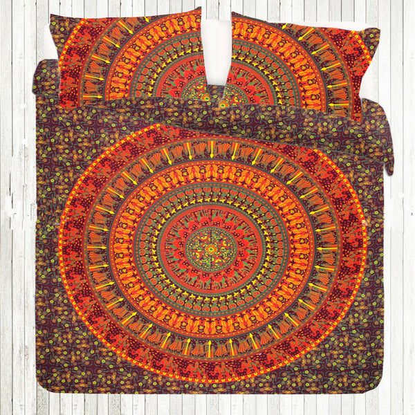 ORANGE YELLOW CHAKRA MANDALA Duvet Doona Cover Set - KraftDirect