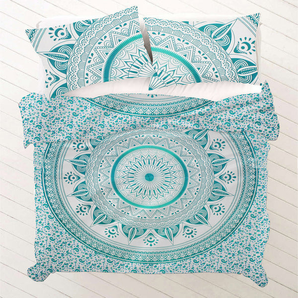 TEAL MEDALLION DUVET DOONA COVER SET - KraftDirect