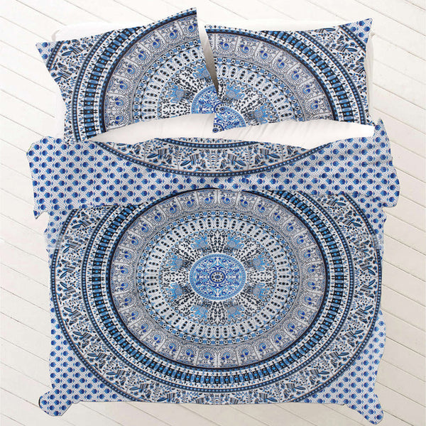 NAVY BLUE AND WHITE MANDALA DUVET DOONA COVER SET - KraftDirect