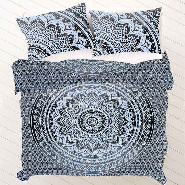 BLACK OMBRE MANDALA Duvet Doona Cover Set - KraftDirect