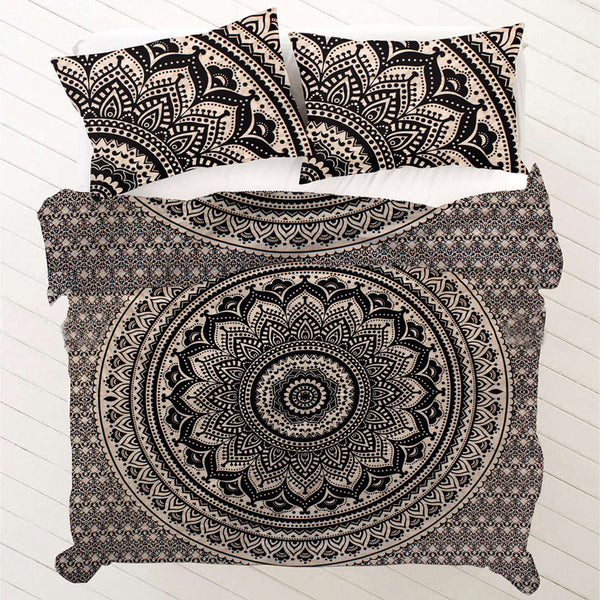 BLACK AND WHITE CHAKRA MANDALA Duvet Doona Cover Set - KraftDirect