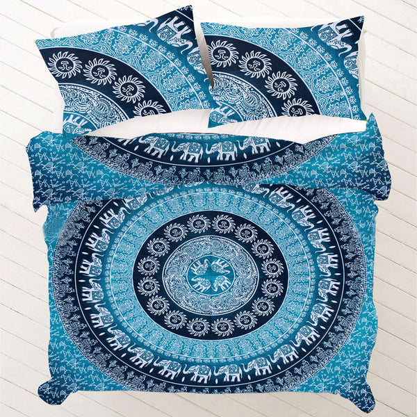 OCEAN BLUE WITH ELEPHANT AND SUN PRINTS Duvet Doona Cover Set - KraftDirect