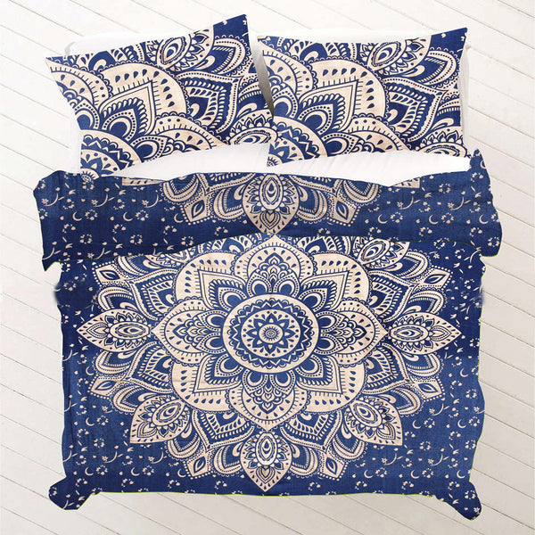FLORAL NAVY BLUE WITH LOTUS Duvet Doona Cover Set - KraftDirect