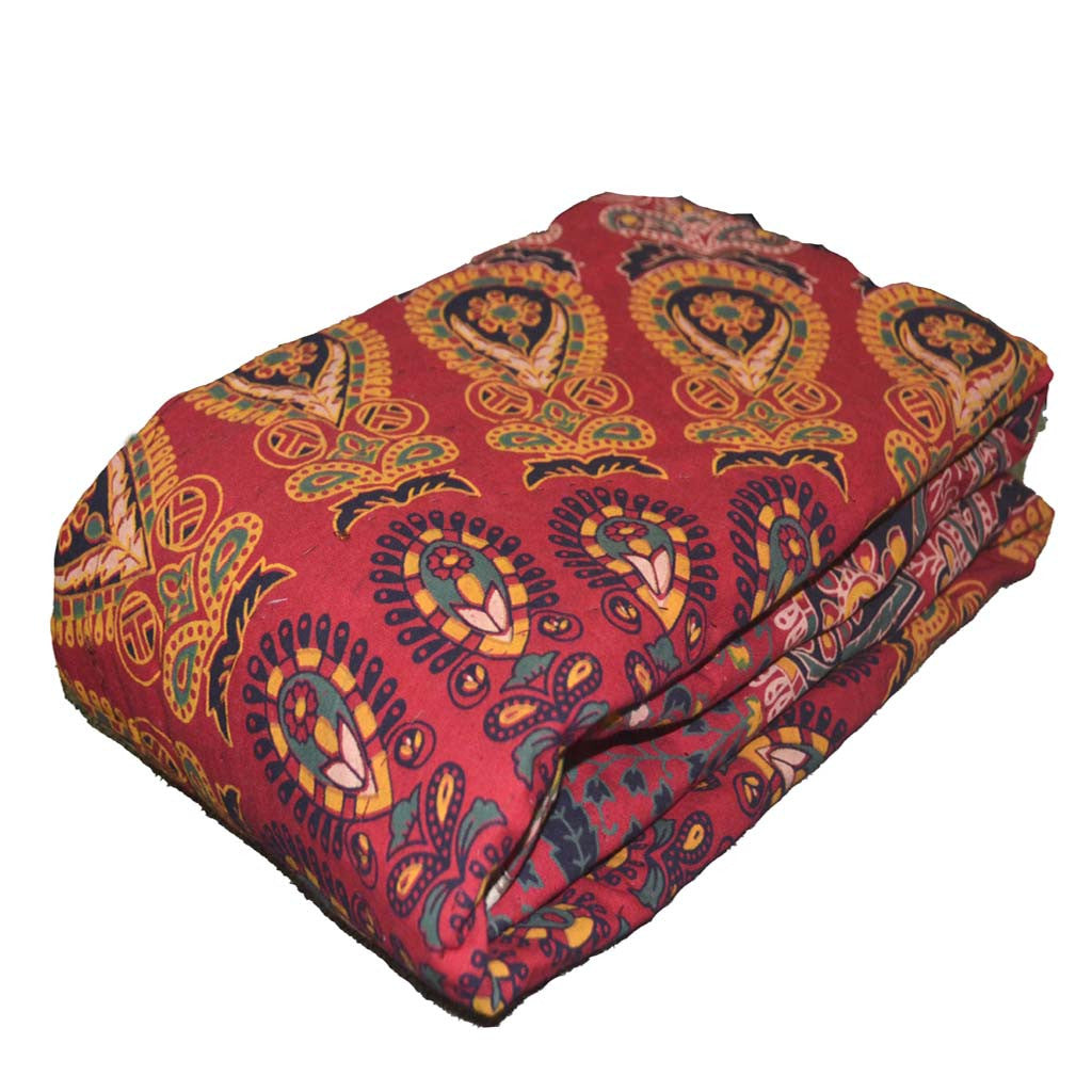Boho Quilted Cotton Throws For Sofa Red Mandala Design Kraftdirect