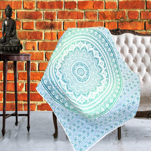 Boho Quilted Cotton Throws for Sofa - Blue Mandala Design - KraftDirect