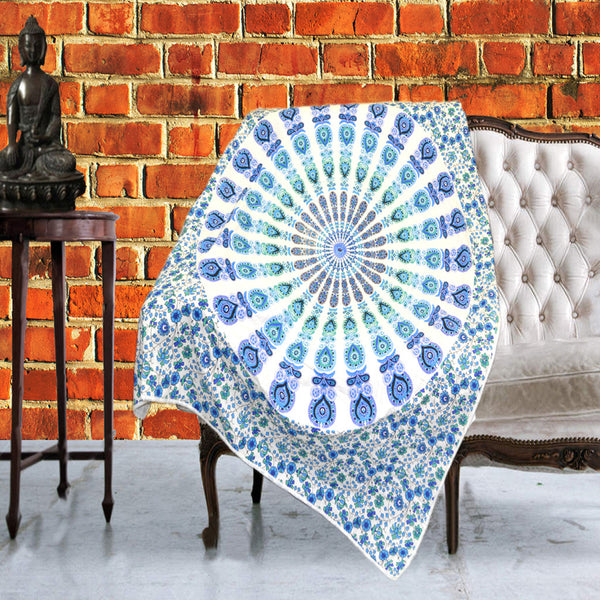 Boho Quilted Cotton Throws for Sofa - Indigo Blue - KraftDirect