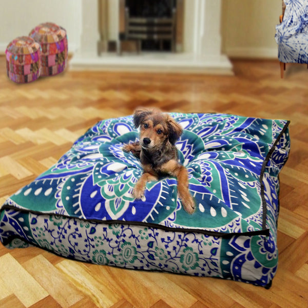 Green Blue Lotus Mandala Square Dog Bed