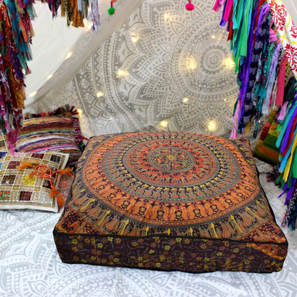 Colourful Tribal Mandala on a square floor pillow