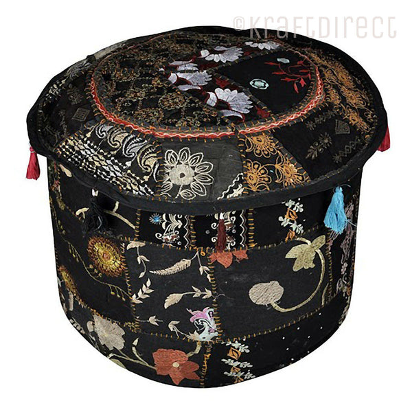 Boho Ottoman Patchwork Pouf - Black Base - KraftDirect