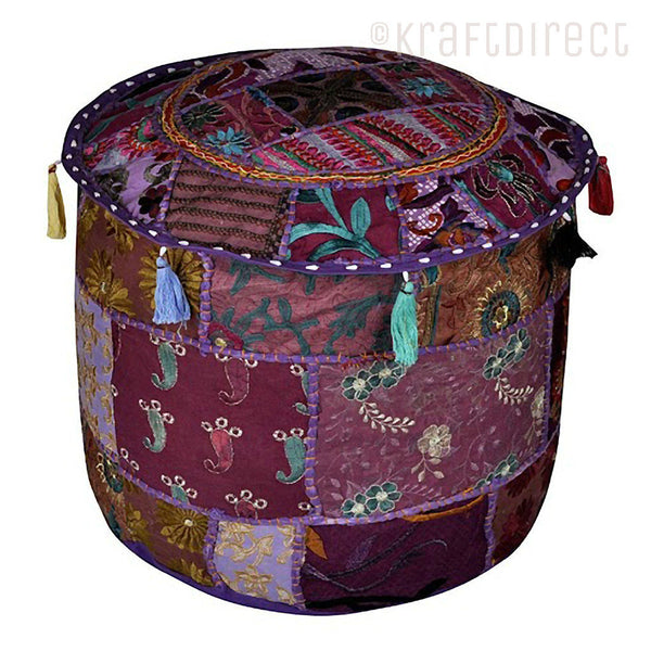 Boho Ottoman Patchwork Pouf - Purple Base - KraftDirect