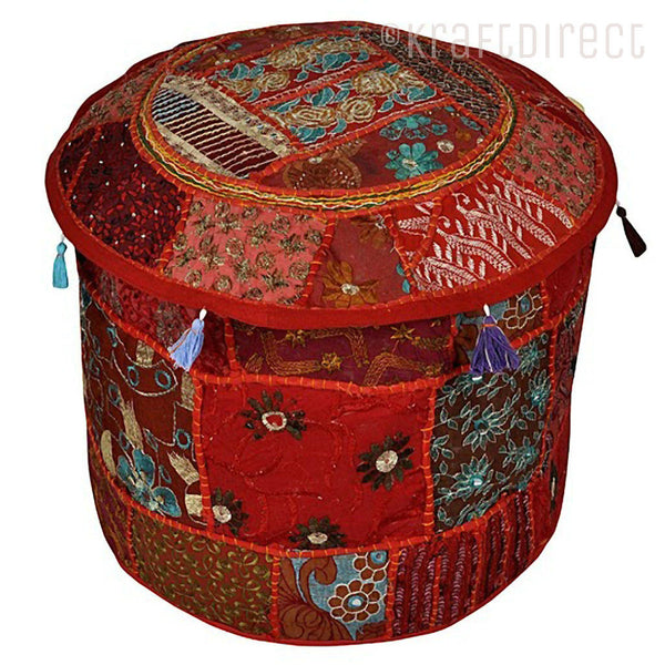Boho Ottoman Patchwork Pouf - Red Base - KraftDirect