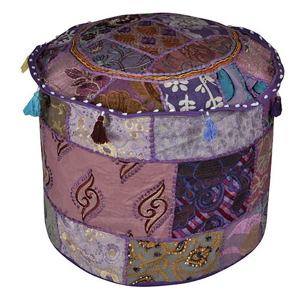 Boho Ottoman Patchwork Pouf - Violet Base - KraftDirect