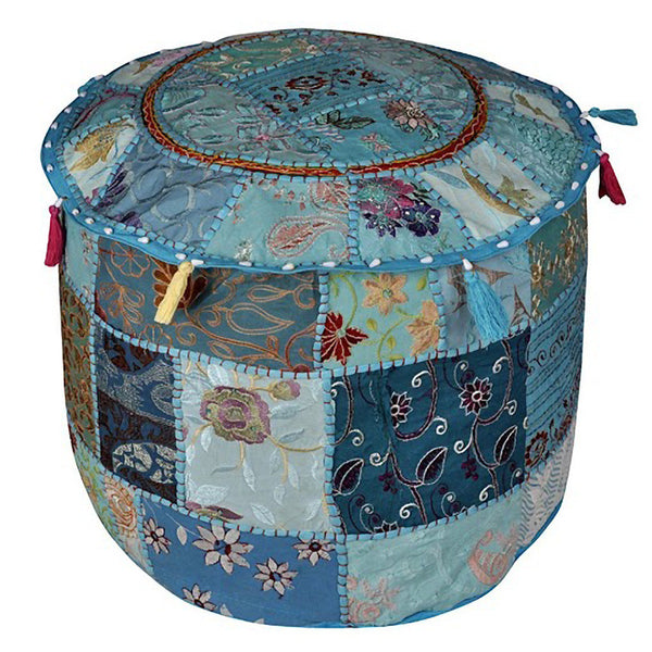 Boho Ottoman Patchwork Pouf - Skyblue Base - KraftDirect