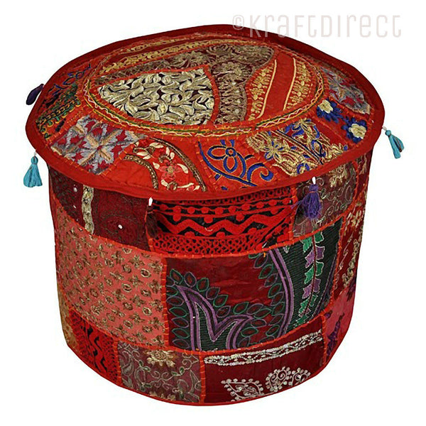 Boho Ottoman Patchwork Pouf - Maroon Base - KraftDirect
