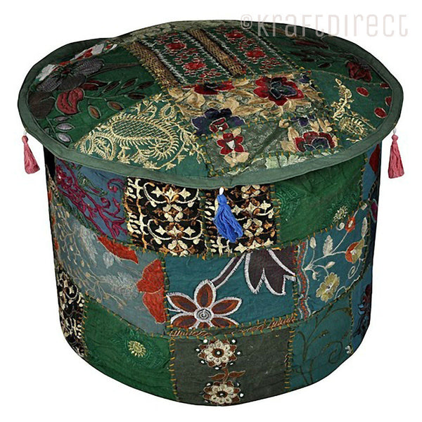 Boho Ottoman Patchwork Pouf - Dark Green Base - KraftDirect