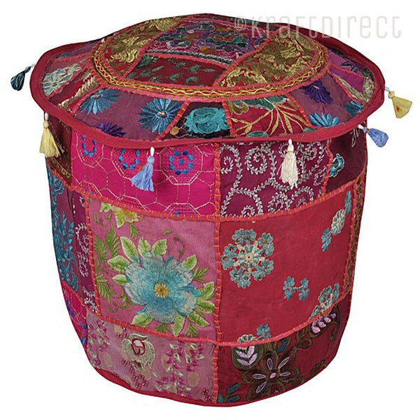 Boho Ottoman Patchwork Pouf - Violet Red Base - KraftDirect
