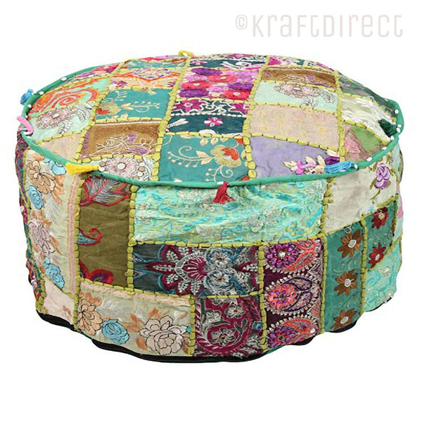 Boho Ottoman Patchwork Pouf - Blue Green Base - KraftDirect