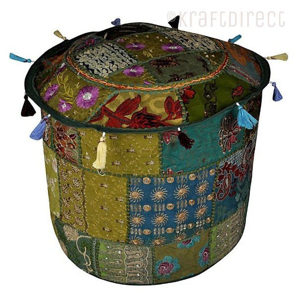 Boho Ottoman Patchwork Pouf - Green Base - KraftDirect