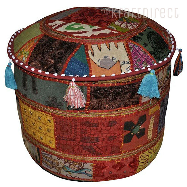 Boho Ottoman Patchwork Pouf - Orange Base - KraftDirect