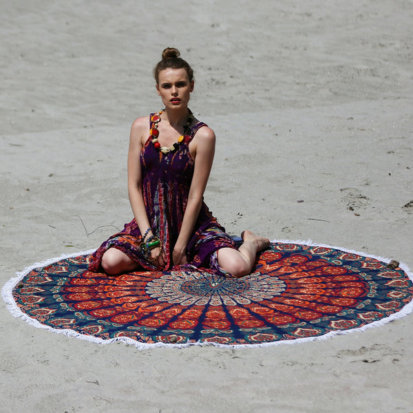 Mandala Orange Blue Beach Roundie With Tassels - KraftDirect