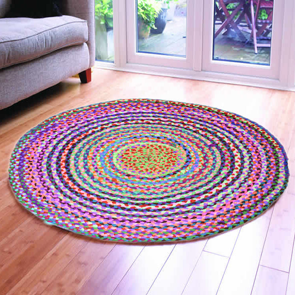 HAND-BRAIDED AREA RUG - 120cmx120cm (4ft)