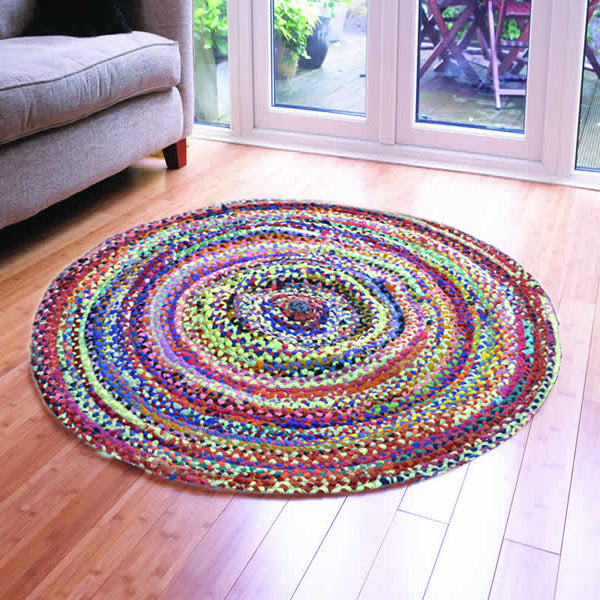 ASSORTED FABRICS MULTI-COLORED HAND-BRAIDED AREA RUG - 120cmx120cm (4ft)