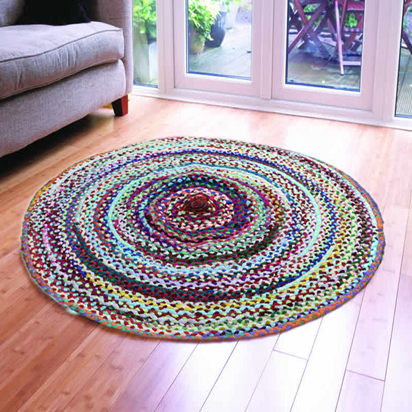 ASSORTED FABRICS SKY HUES MULTI-COLORED HAND-BRAIDED RUG - 120cmx120cm (4ft)