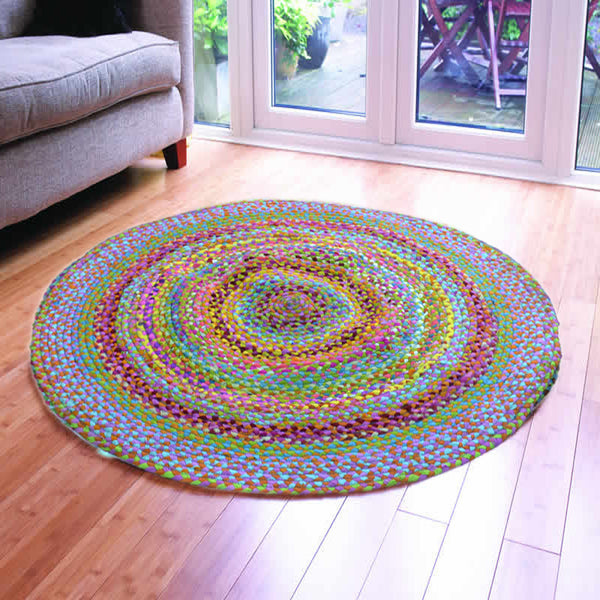 ASSORTED FABRICS PRANIC CHAKRA MULTI-COLORED HAND-BRAIDED AREA RUG - 120cmx120cm (4ft)