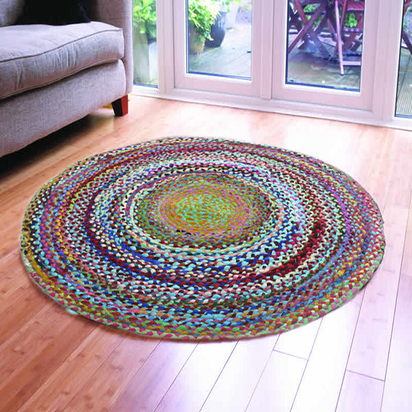 ASSORTED FABRICS PSYCHEDELIC HAND-BRAIDED AREA RUG - 120cmx120cm (4ft)
