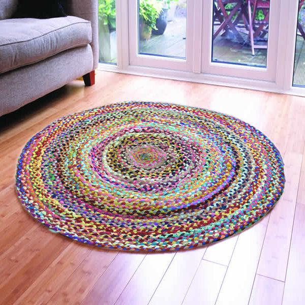ASSORTED FABRICS VIBRANT MULTI-COLORED HAND-BRAIDED AREA RUG - 120cmx120cm (4ft)