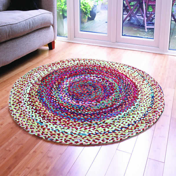 ASSORTED FABRICS WHITE HUES PSYCHEDELIC HAND-BRAIDED AREA RUG - 120cmx120cm (4ft)