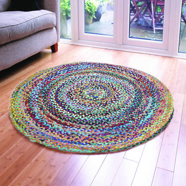 ASSORTED FABRICS OCEAN HUES MULTI-COLORED HAND-BRAIDED AREA RUGS - 120cmx120cm (4ft)