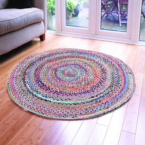 ASSORTED FABRICS PINK HUES MULTI-COLORED HAND-BRAIDED AREA RUG  - 120cmx120cm (4ft)