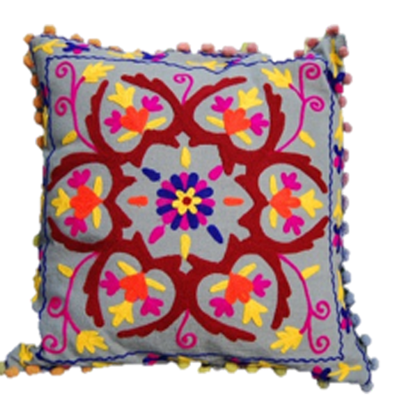 Bright Floral Madness embroidered cushion cover