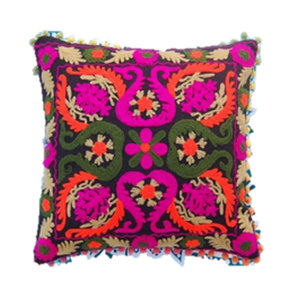 Amber Embroidered Pillow Cover with Floral Motifs in Purple and Green