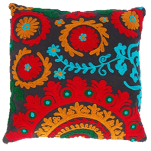 Tribal Affair on a dark night embroidered cushion cover