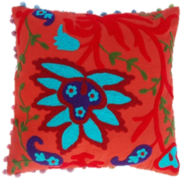 Amber Embroidered Pillow Cover with Floral Motifs in Multicolor