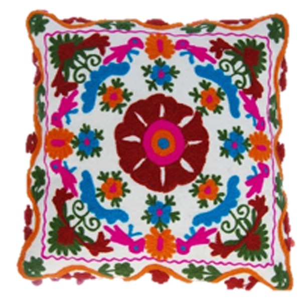 Vintage colourful embroidery on a square cushion cover