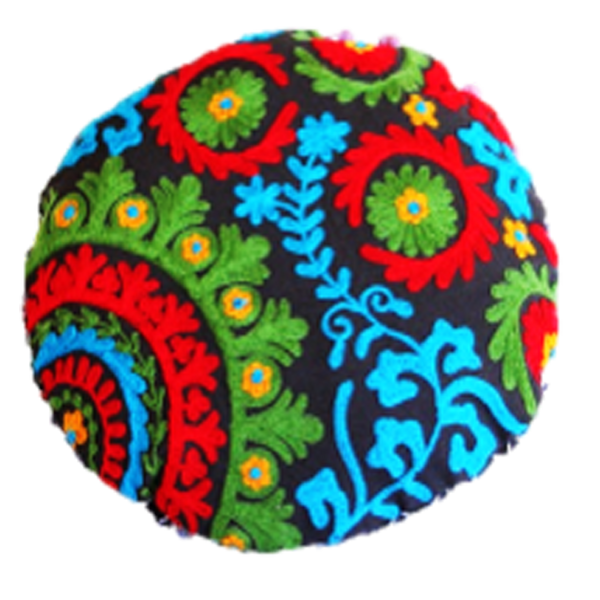 Colourful paradise embroidered on a dark base round pillow cover