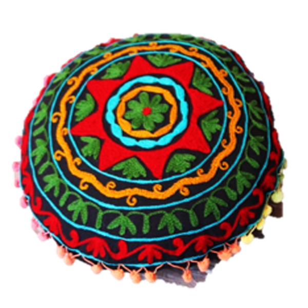 Bright Red Star embroidered on a  round pilow cover