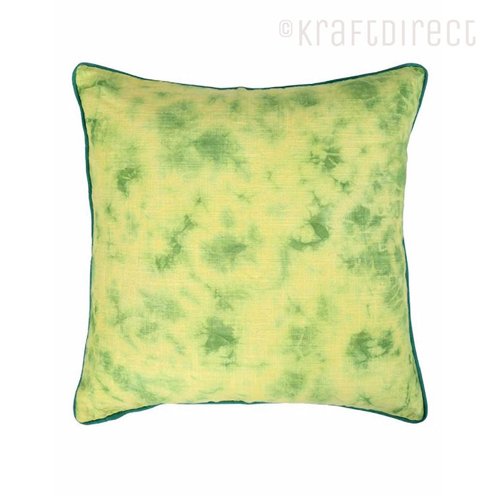 Bright Yellow  Green Tie Dye Pillow Cover Made With Vegetable Dyes    KraftDirect
