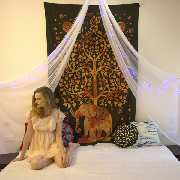 Golden Elephant Tree of Life Tapestry - KraftDirect