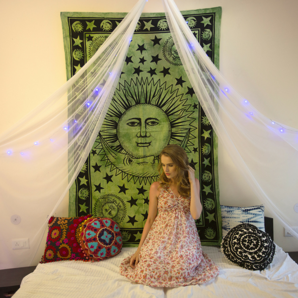 Sun and Moon Olive Colored Mandala Tapestry - KraftDirect