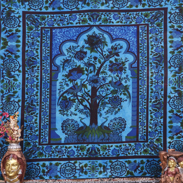 Peacock blue tree of life tapestry