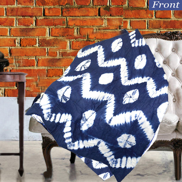 Boho Wave Patterned Indigo Cotton Decorative Throw for Sofa - KraftDirect