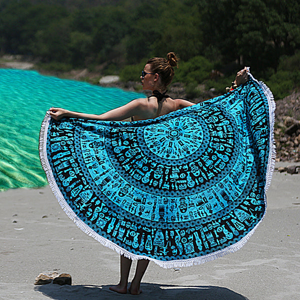 Round Beach Throw Tribal Tapestry Blue and Black - KraftDirect