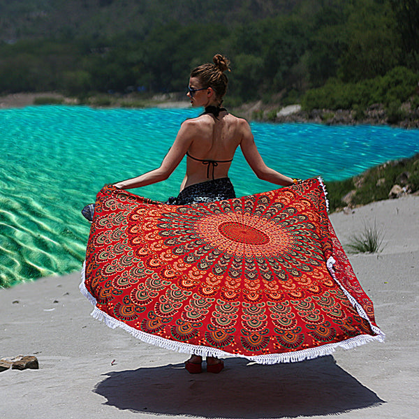 Mandala Round Beach Throw - Radiating Red With White Tassels - KraftDirect