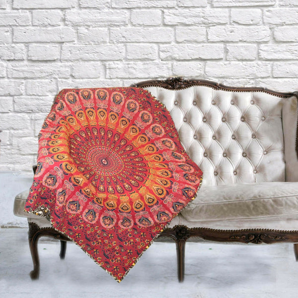 Boho Quilted Cotton Throws for Sofa - Red Mandala Design - KraftDirect